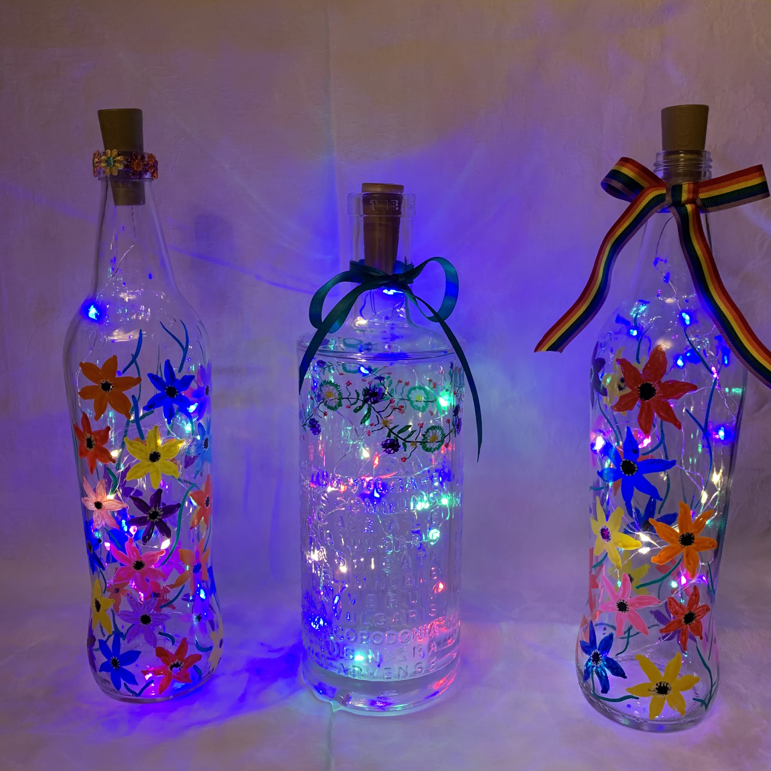 Bottle Hand Painted Flowers A £7 each