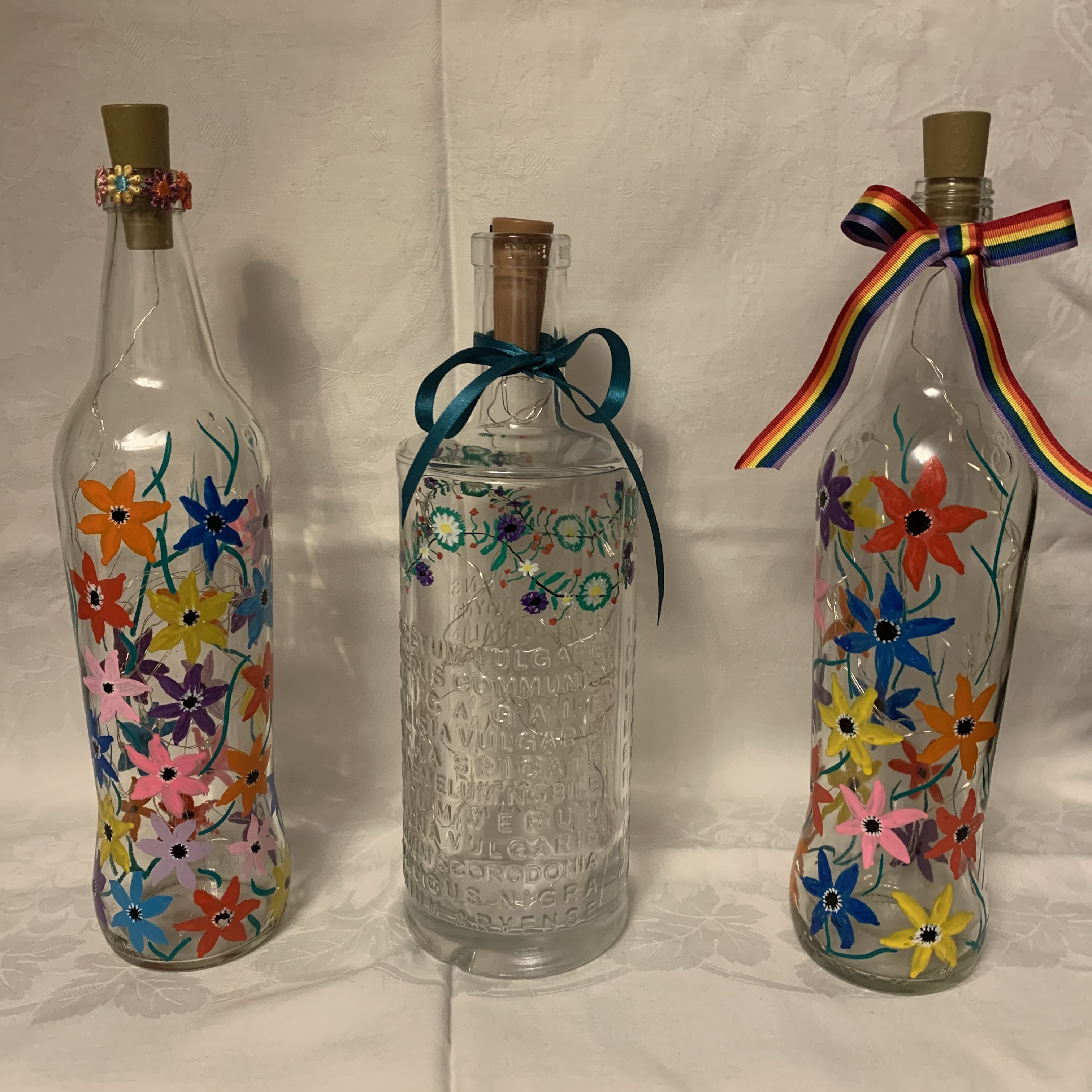 Bottle Hand Painted Flowers B