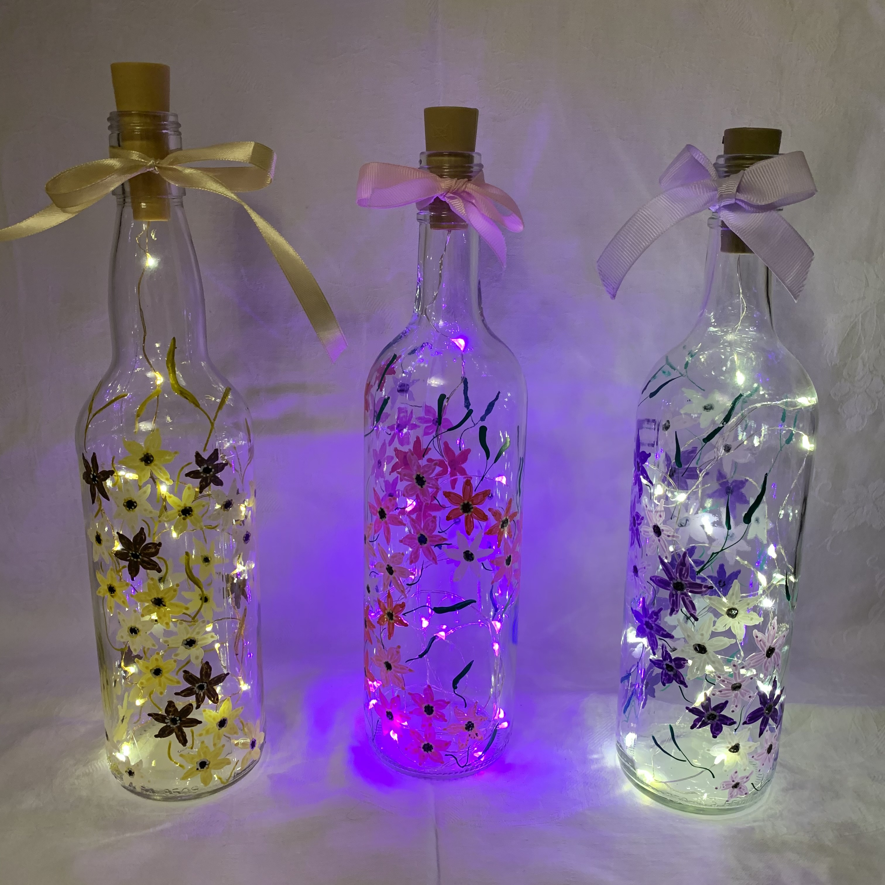 Bottle Hand Painted Flowers2 A £7 each