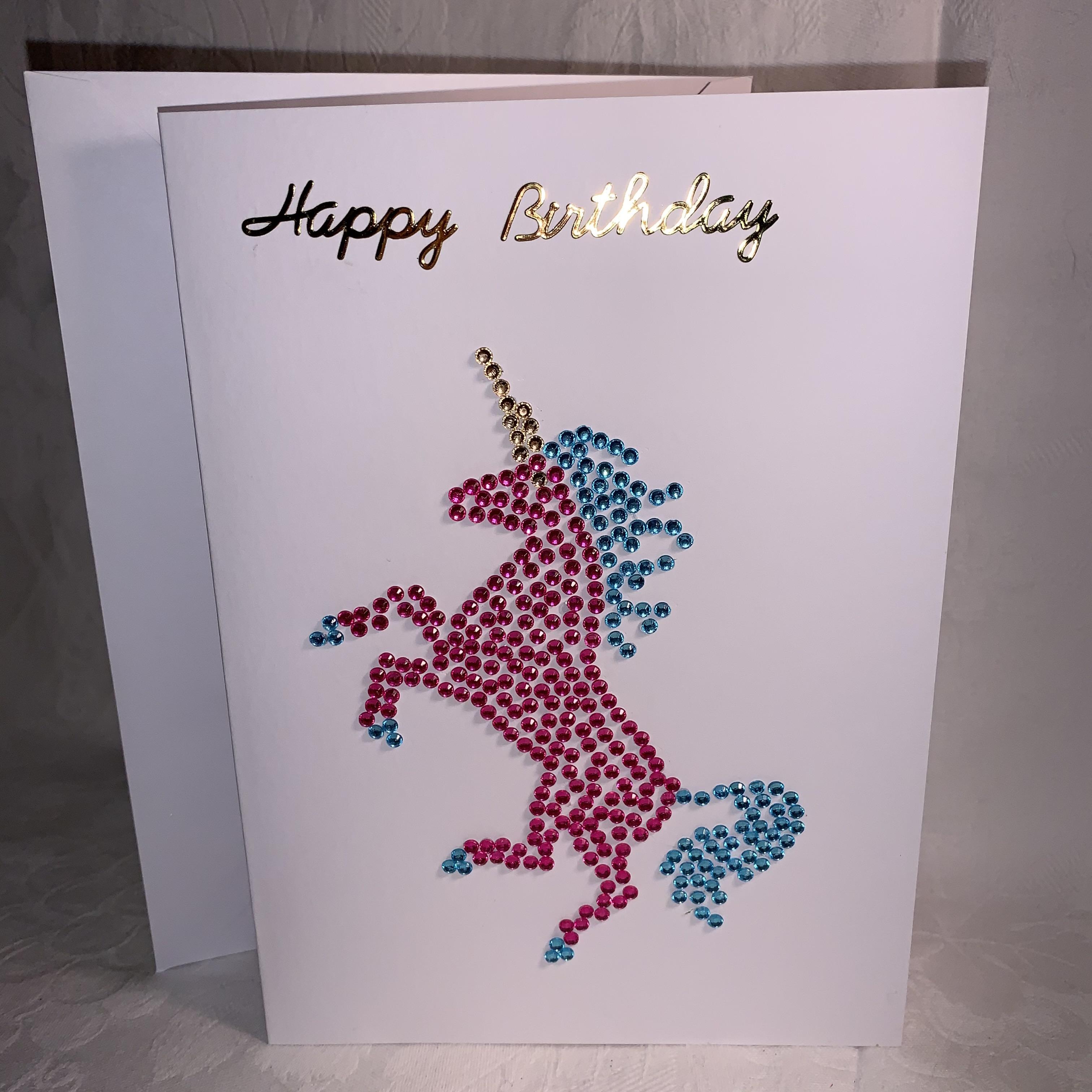 Birthday Card Jewelled Rearing Unicorn