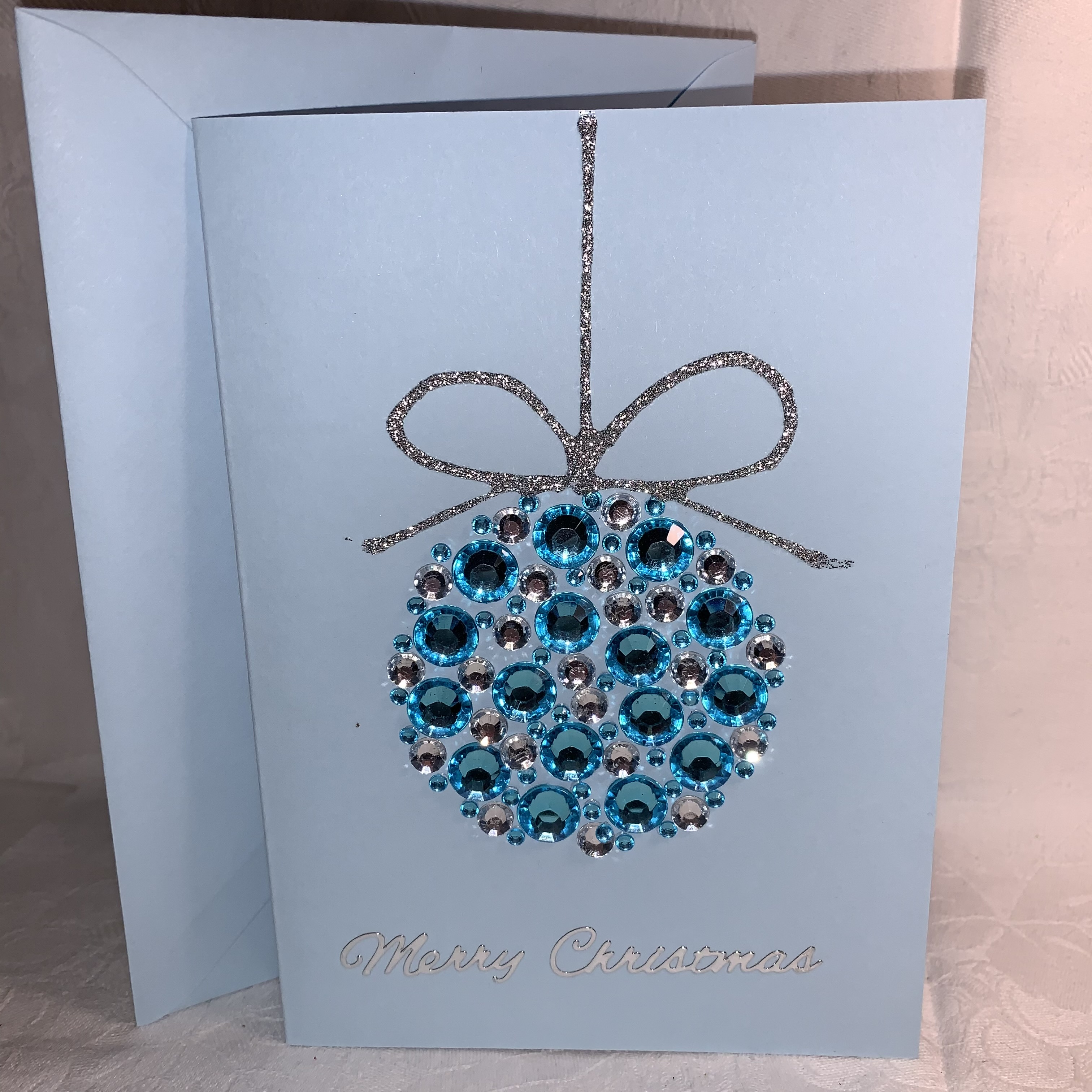 Christmas Blue Jewelled Bauble