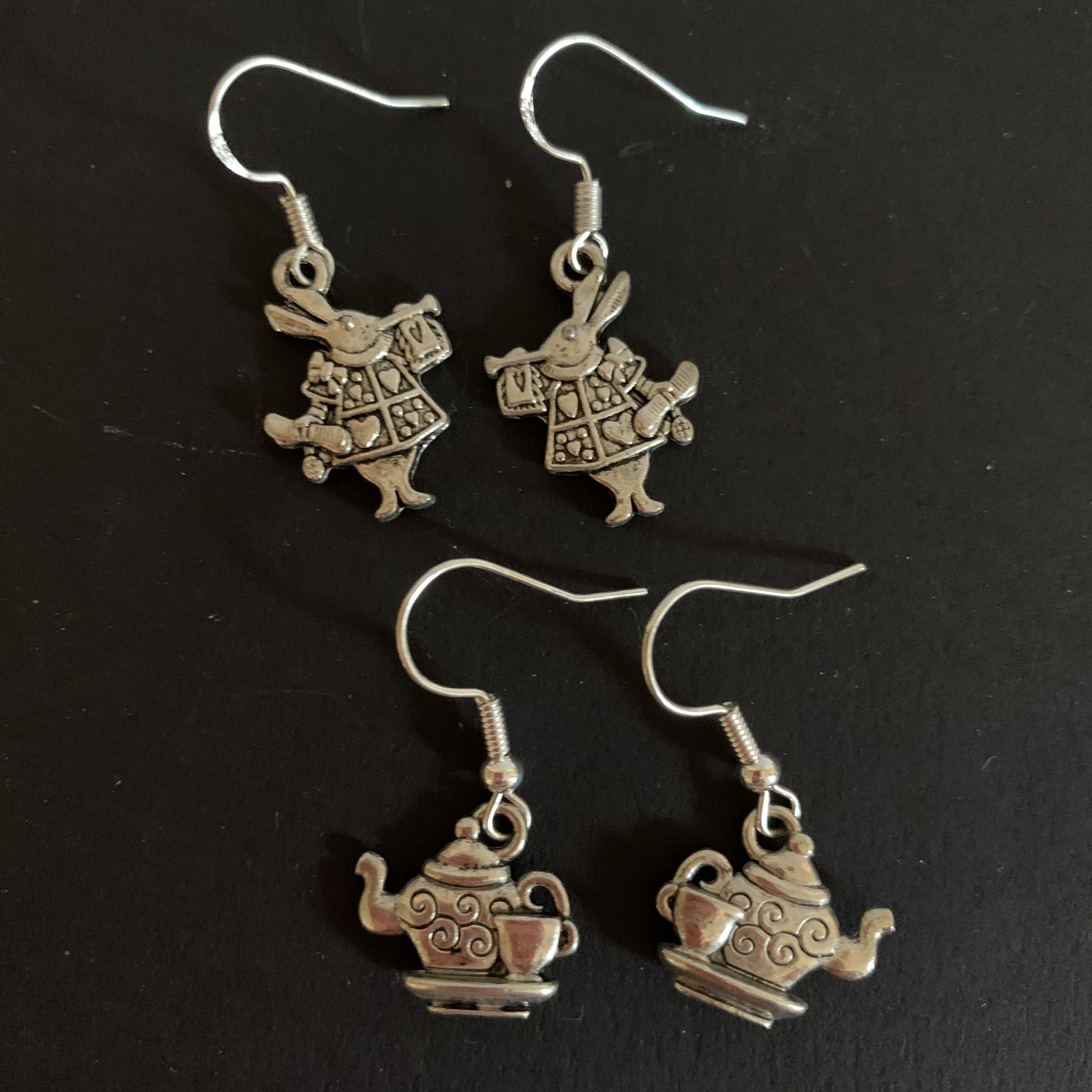 Jewellery White Rabbit and Teapot Earrings £3 each