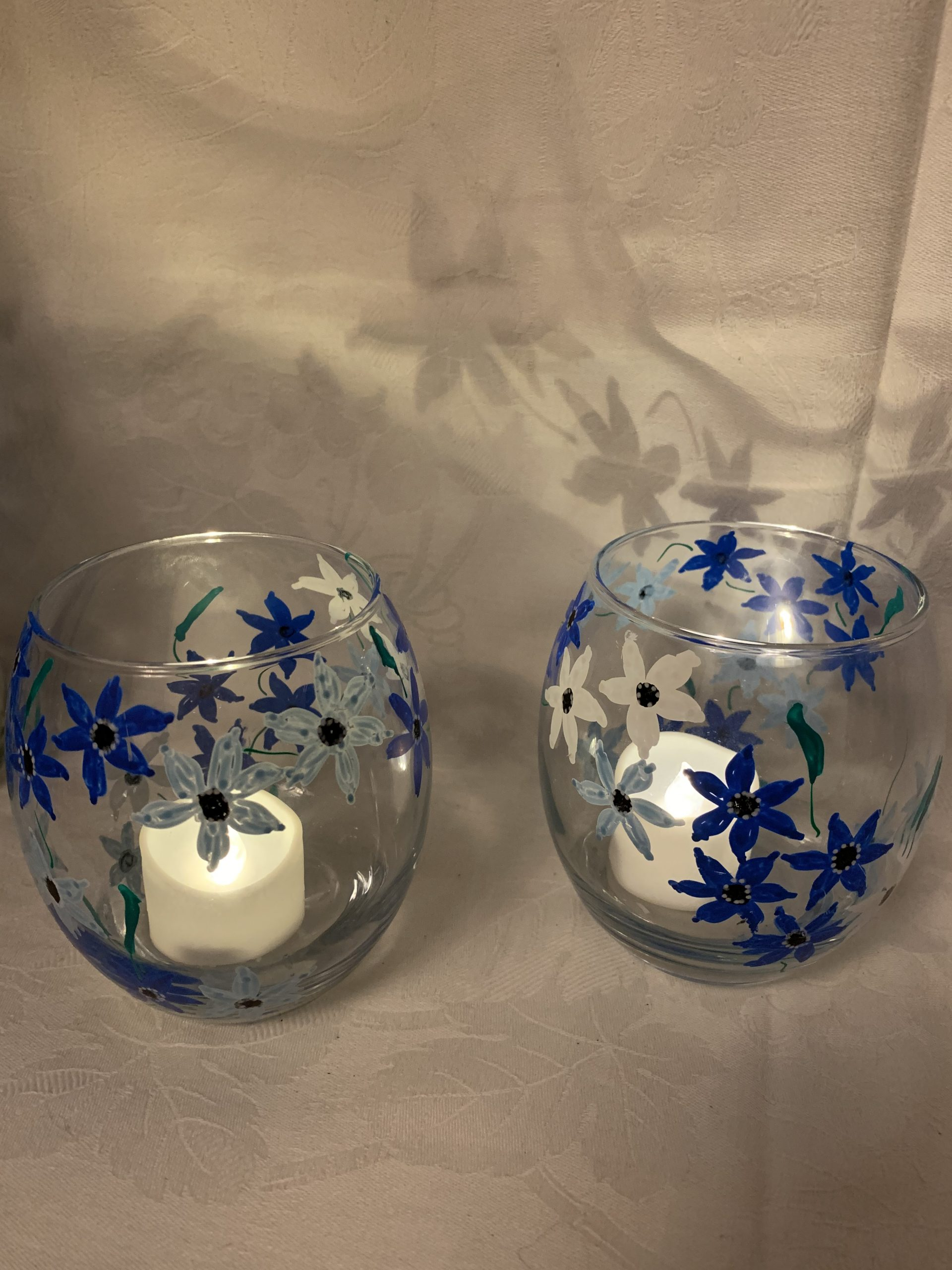 Tealight Blue Flowers £3 each £5 Pair