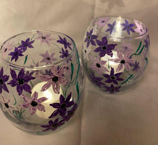 Tealight Purple Flowers £3 each £5 Pair